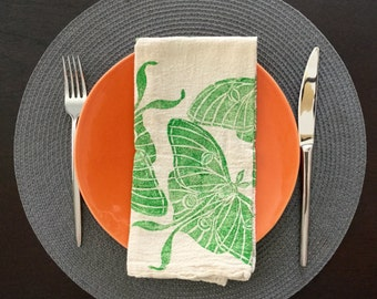 Set of two Insect  flour sack dinner napkins ;  hand printed dinner napkins