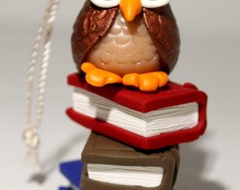 Owl Ornament/ Books Ornamemt/Christmas Tree Ornament/Owl Christmas Ornament/Decoration/Polymer Clay