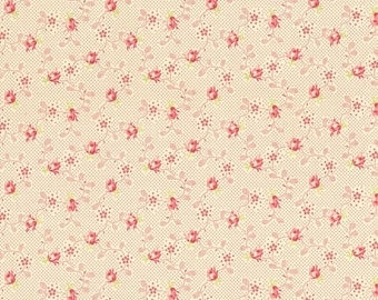 RJR Fabrics Bon Bon Bebe 2245 01 Small Floral On Red Yardage By Robyn Pandolph