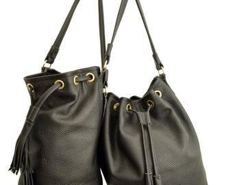 Bucket bag Leather bag MARI BAG black