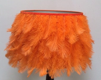 Orange ostrich feather lampshade