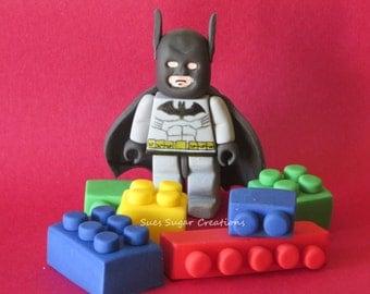 Lego Super Hero edible fondant cake toppers