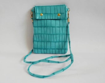 1990's vintage Turquoise handbag vintage shoulder handbag 90's crossbody handbag small vintage handbag detachable shoulder strap clutchbag