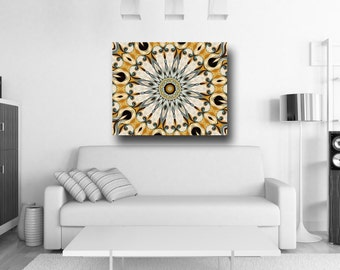 Mandala artwork - Large Canvas Print in mustard yellow and soothing Blue. Mandala painting infused with a touch of french romanticism.