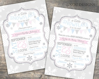 Snowflake Winter Gender Reveal or Baby Shower Invitation Card - Printable File