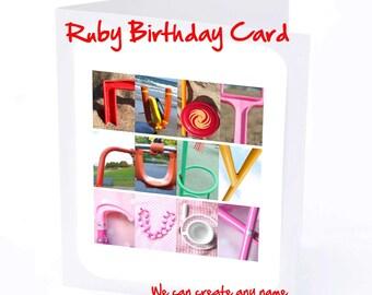 Ruby Personalised Birthday Card