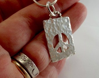 Hammered Sterling Silver Peace Pendant, Pierced Metal Jewelry
