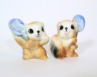 Vintage Kitsch Squirrels Playing Tennis Salt and Pepper Shakers
