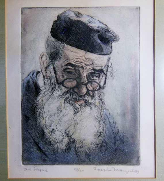 1940's Etching Lithograph Of Bearded Man Philosopher The Skeptic Pencil Signed Joseph Margulies