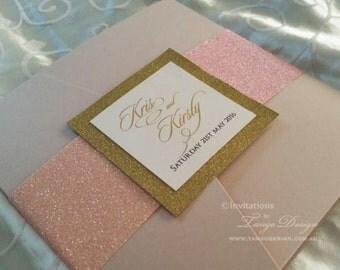 Blush gold wedding invitation set. Pink Glitter wedding invitations suite. Pink and gold pocket fold. SAMPLE blush wedding Invites in a set
