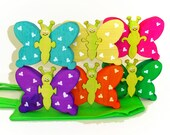 Rainbow Butterfly Stacking Puzzles Game Color Matching Puzzles with Fabric Tote Bag Ready to ship
