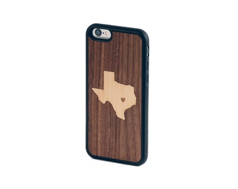 Real Wood iPhone Case with Bumper Edge and Custom State Inlay 5 5S 6 6S 6 Plus 7 7 Plus