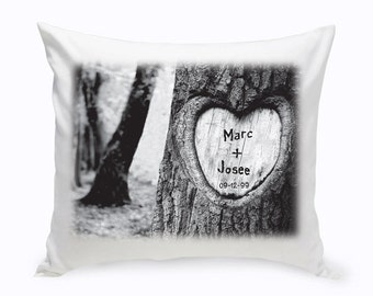 Personalized Tree Carving Throw Pillow - Custom Throw Pillow - Heart Tree Carving - Personalized Throw Pillows (1384)