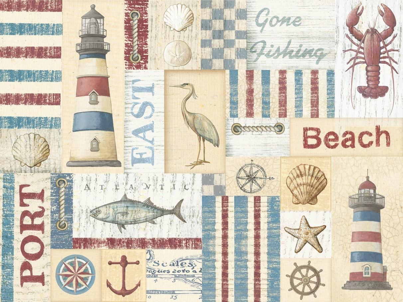 Nautical Fabric Lighthouse Fabric Fish Fabric Seaside