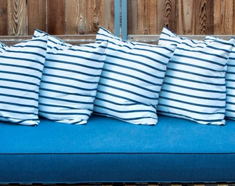 "Outdoor Sunbrella Lido Stripes Indigo on White Nautical Marine Decorative Throw Pillow Cover Size from 16""x16"" to 26""x26"" with Zipper"