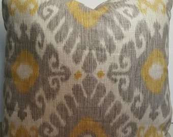 Jaclyn Smith Ikara Blend Dove Grey Yellow Color Decorative Indoor Pillow Cover with Zipper and Solid color Linen/Cotton blend backing fabric