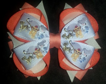 Lion Guard Handmade Orange Cream Stacked Boutique Bow