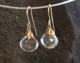 Clear Quartz Earrings - April Birthstone - 14 carat gold filled