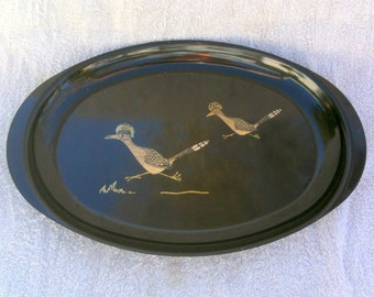 Vintage Couroc of Monterey Road Runner Tray Phenolic Resin Inlaid Tray  Nature Theme Couroc Platter Couroc Tray Deserdog Destash  b15