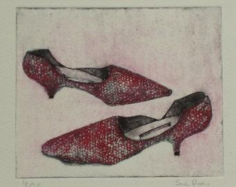 Original Collagraph Print - Ladies Red Shoes