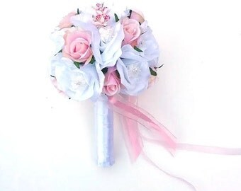 Flower-girl's Bouquet.  Pink and White Flower-girl's Bouquet with Brooches, Brooch Bouquet for Flowergirl