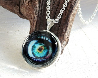 Eye Necklace, Glass Dome Pendant, Photo Jewelry, Art Print