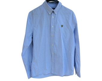Vintage Lyle & Scott  men shirt blue size L 100% cotton