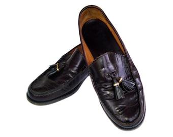 Vintage BARRONS schoenmaker mannen schoenen donker wijnrood cordovan kwast molières Oxford