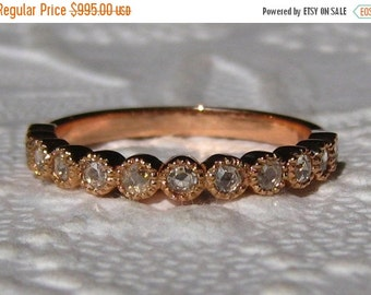 Valentines Day Sale... Rose Cut Diamonds in Rose Gold Milgrain Bezel Wedding Band