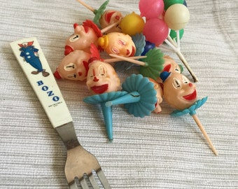 Bozo Fork and Clown Cake Toppers
