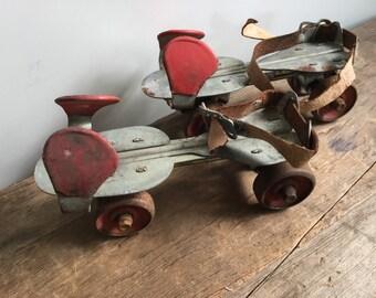Vintage Red Adustable Union Roller Skates