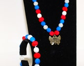 Red Blue and White Neon Butterfly Jewellery Set