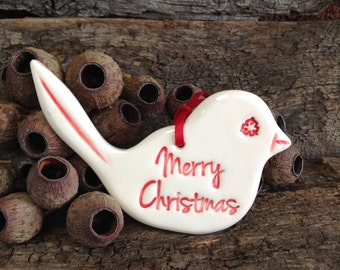 Handmade Christmas Decoration -Red and White Merry Christmas Wren