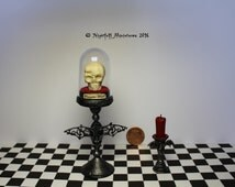 Dollhouse Miniature Gothic Vampire Skull on bat stand with candlestick in 1:12 scale