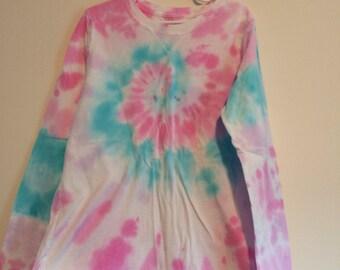 Girls Large long sleeve tie dye top. Pastel pink and teal.