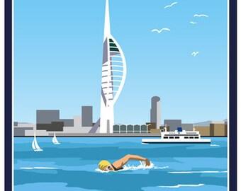 SOLENT SWIM. Swimming for fun in the Solent, Hampshire! A4, A3, A2 in Retro, Art Deco style design