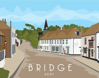 BRIDGE, CANTERBURY. Modern art poster of the picturesque village of Bridge in Kent. A4, A3, A2.