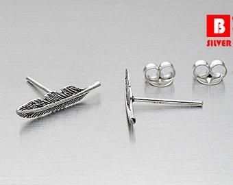 925 Sterling Silver Earrings Oxidized, Feather Stud Earrings, Stud Earrings (Code : K40B)
