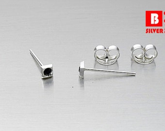 925 Sterling Silver Earrings, Black Crystal Earrings, Stud Earrings (Code : ED63D)