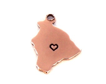 2x Rose Gold Plated Hawaii State Charms w/ Hearts - M132/H-HI