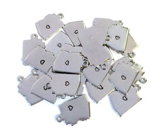 2x Silver Plated Arizona State Charms w/ Hearts - M070/H-AZ