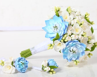 Clay wedding bouquet and boutonniere set, Bridal bouquet with white and blue flowers
