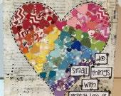 Heart Decor, Mother Teresa, Heart wall art, Heart Rainbow Art