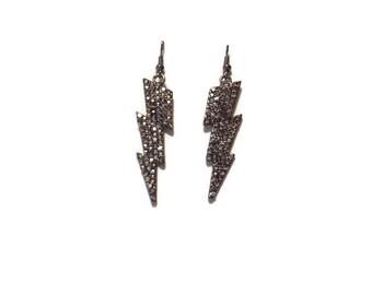 B45: Jeweled Gunmetal Gray Lightening Earrings