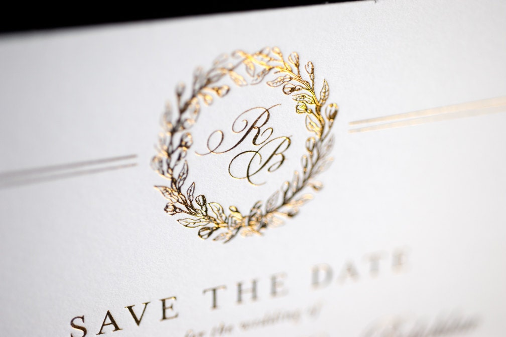 Gold foil wedding invitation gold foil rsvp card gold foil for Gold foil wedding invitations canada