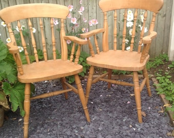 SOLD Two country kitchen spindle carvers chairs