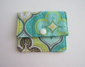 Compact Snap Wallet with card slots, and a pocket at the back for folded cash or receipts. Green, lime green, teal, Sea Green