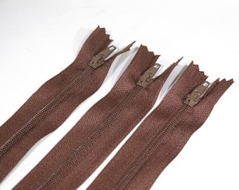 BULK! 10pc zipper 30cm / 12 inch brown closed end (Z73B)