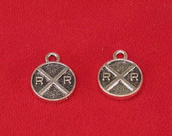 "BULK! 30pc ""RR Railroad"" charms in antique silver style (BC853B)"