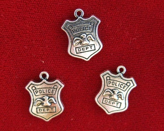 """BULK! 15pc """"Police dept"""" charms in silver style (BC824B)"""